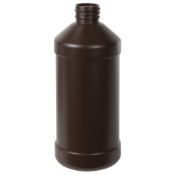 16 oz. Brown HDPE Modern Round Bottle with 28/410 Neck (Cap Sold Separately)