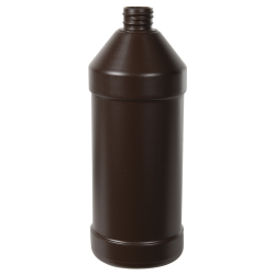 32 oz. Brown Modern Round Bottle with 28/410 Neck (Cap Sold Separately)
