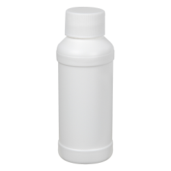 4 oz. White HDPE Modern Round Bottle with 28/410 Plain Cap