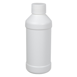 8 oz. White Modern Round Bottle with 28/410 Cap