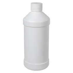 16 oz. White HDPE Modern Round Bottle with 28/410 Plain Cap