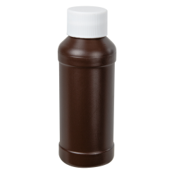 4 oz. Brown HDPE Modern Round Bottle with 28/410 Plain Cap