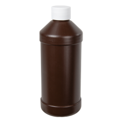16 oz. Brown HDPE Modern Round Bottle with 28/410 Plain Cap