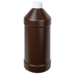 32 oz. Brown Modern Round Bottle with 28/410 Cap