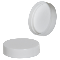 43/400 White Polypropylene Smooth Cap with PE Foam Liner