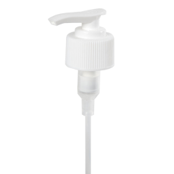 "28/410 White Ribbed Lotion Pump - 5-15/16"" Dip Tube"