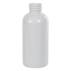 4 oz. White PET Traditional Boston Round Bottle with 24/410 Neck (Cap Sold Separately)