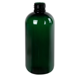 8 oz. Dark Green PET Traditional Boston Round Bottle with 24/410 Neck (Cap Sold Separately)