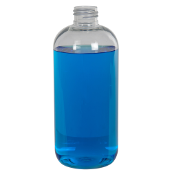 12 oz. Clear PET Traditional Boston Round Bottle with 24/410 Neck (Cap Sold Separately)