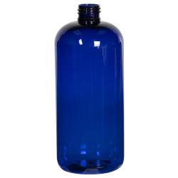 16 oz. Cobalt Blue PET Traditional Boston Round Bottle with 24/410 Neck (Cap Sold Separately)
