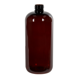16 oz. Light Amber PET Traditional Boston Round Bottle with 24/410 Neck (Cap Sold Separately)