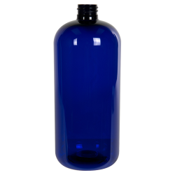 32 oz. Cobalt Blue PET Traditional Boston Round Bottle with 28/410 Neck (Cap Sold Separately)