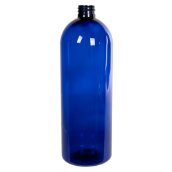 32 oz. Cobalt Blue PET Cosmo Round Bottle with 28/410 Neck