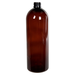 32 oz. Light Amber PET Cosmo Round Bottle with 28/410 Neck (Cap Sold Separately)