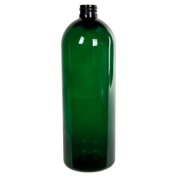 32 oz. Dark Green PET Cosmo Round Bottle with 28/410 Neck
