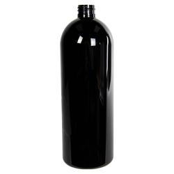 32 oz. Black PET Cosmo Round Bottle with 28/410 Neck