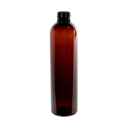8 oz. Light Amber PET Cosmo Round Bottle with 24/410 Neck (Cap Sold Separately)