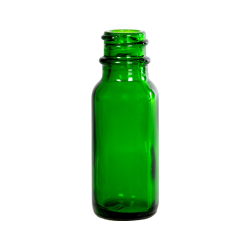 1/2 oz. Green Glass Boston Round Bottle with 18/400 Neck (Cap Sold Separately)