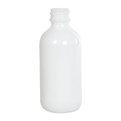 2 oz. White Glass Boston Round Bottle with 20/400 Neck (Cap Sold Separately)