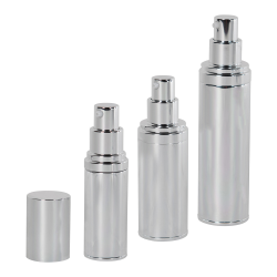 Silver Airless Treatment Bottles with Pumps & Caps