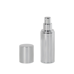 30mL Silver Airless Treatment Bottle with Pump & 18mm Cap