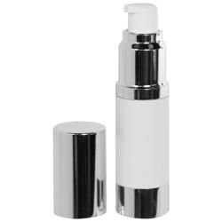 15mL White/Silver Aluminum Airless Treatment Bottle with Pump & Cap