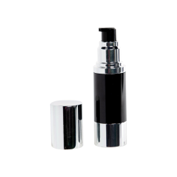 15mL Black/Silver Aluminum Airless Treatment Bottle with Pump & Cap