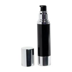 50mL Black/Silver Aluminum Airless Treatment Bottle with Pump & Cap