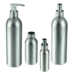 Brushed Aluminum Bottles, Caps, Sprayers & Pumps