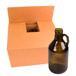 32 oz. Growler Amber Glass Jugs with 38/400 Necks  (Cap Sold Separately)