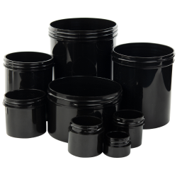 Black Polypropylene Straight Sided Thick Wall Jars