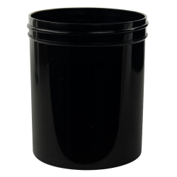 16 oz. Black Polypropylene Straight Sided Jar with 89/400 Neck (Cap Sold Separately)