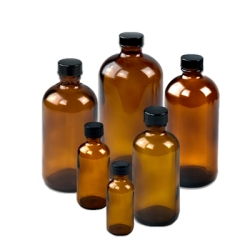Amber Boston Round Glass Bottles with Caps