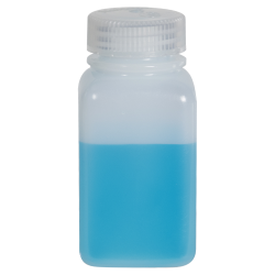 6 oz./175mL Nalgene™ Wide Mouth Polyethylene Square Bottle with 38mm Cap