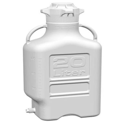 20L White EZgrip® Polypropylene Carboy w/120mm Closed Cap & Spigot
