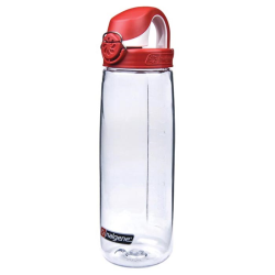 24 oz. Clear Nalgene® On The Fly Tritan Water Bottle with Red & White Cap