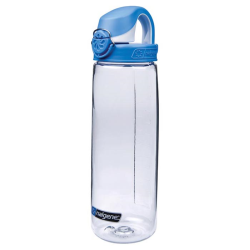 24 oz. Clear Nalgene® On The Fly Tritan Water Bottle with Blue & White Cap
