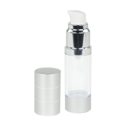 15mL Airless Bottle with Pump & Cap- Clear/Silver