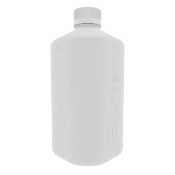 1 Liter White Polypropylene Boston Square Bottle with GL45 Cap