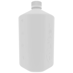 4 Liter White Polypropylene Boston Square Bottle with GL45 Cap