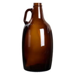 64 oz. Growler Amber Glass Jugs with 38/405 Necks (Cap Sold Separately)