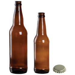 Glass Root Beer Bottles & Cap