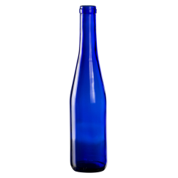 375mL Cobalt Blue Glass Flat Bottom Bottle w/ Cork Neck