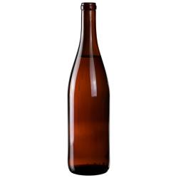 750mL Amber Glass Flat Bottom Bottle w/ Cork Neck
