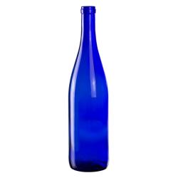 750mL Cobalt Blue Glass Flat Bottom Bottle w/ Cork Neck