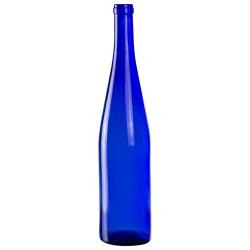 750mL Cobalt Blue Glass Flat Bottom Bottle w/ Tall Cork Neck