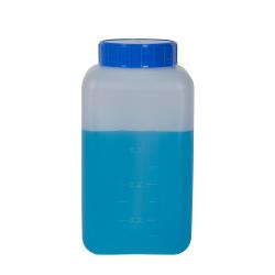 1000mL Azlon® HDPE Rectangular Wide Mouth Graduated Bottle with Cap