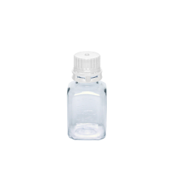 60mL PETG Graduated Square Sterile Bottles with 24/415 White Tamper Evident Caps