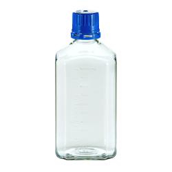 1000mL PETG Graduated Square Sterile Bottles with 38/430  Blue Tamper Evident Caps