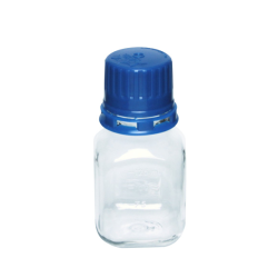 125mL PET Graduated Square Sterile Bottles with 38/430  Blue Tamper Evident Caps